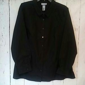 Catherines non iron shirt black sz 1X new